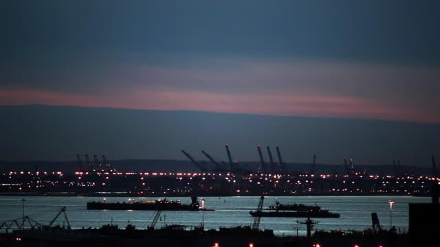 Brooklyn shipyards at dusk video
