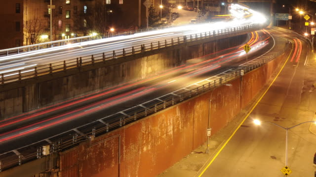 Brooklyn-Queens Expressway  nighttime traffic video