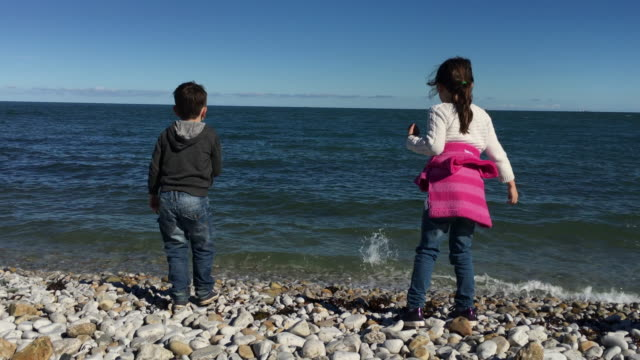 bruder und schwester kinder spielen auf einem kiesstrand am sonnigen tag im sommer - stein baumaterial stock-videos und b-roll-filmmaterial