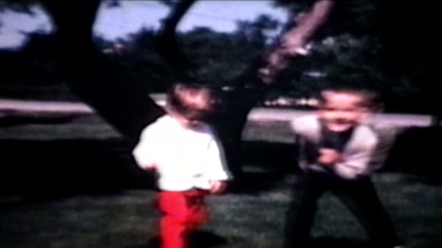 Brother And Sister Play Outside (1968 Vintage 8mm film)