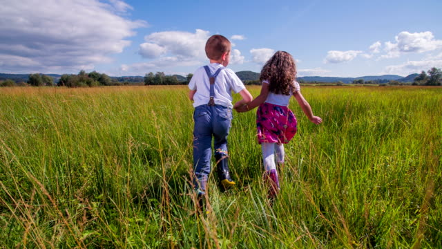 Brother and sister running on a tall high grass video