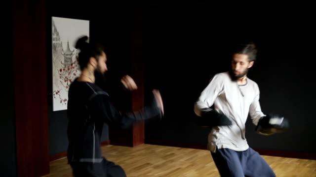 兄弟双子実行足をボクシングで武術パンチ ビデオ