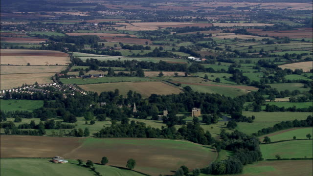 Broughton Castle  - Aerial View - England, Oxfordshire, Cherwell District, United Kingdom video