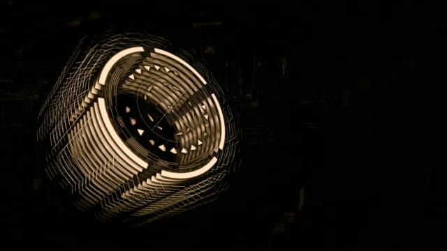 3D marron cylindre tourne dans l'espace, fond une planche de charge électrique - Vidéo