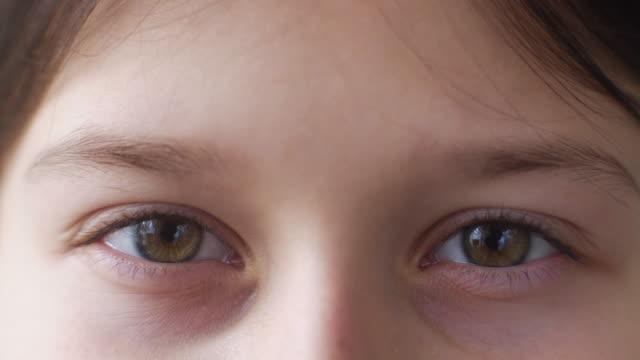 カメラを見ている女の子の茶色の目 - まぶた点の映像素材/bロール