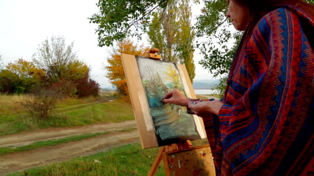 Brown Haired Woman  Drawing A Picture At Plein Air​ video