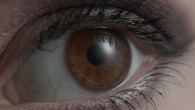Brown iris of a girl eye close up. video