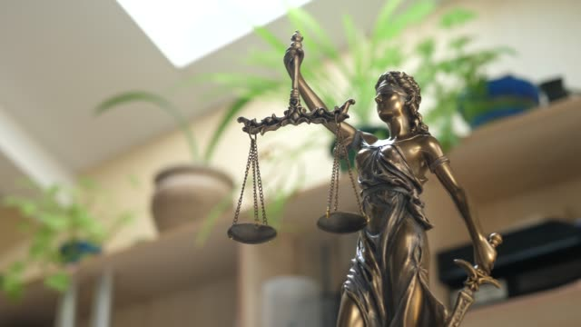 Brown Lady Justice in Office