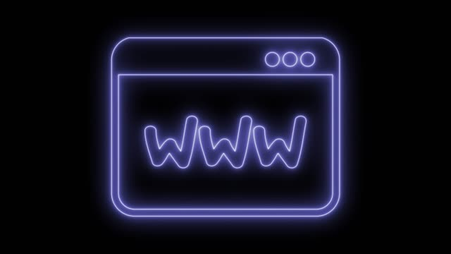 Browser web window Browser web window. Animated symbol icon 4K. Neon effect, linear and alpha channel. homepage stock videos & royalty-free footage