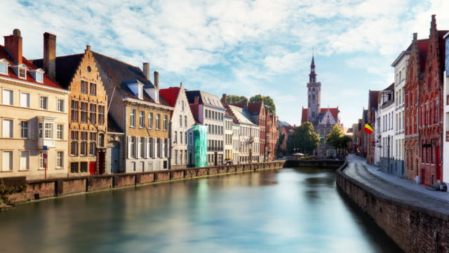 bruges, belgium - scenic cityscape at day, time laspe - bruges video stock e b–roll