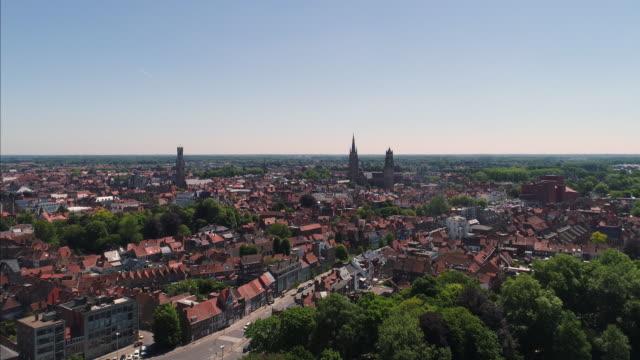 bruges - brugge in belgium aerial view - bruges video stock e b–roll