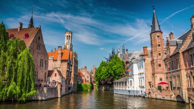 bruges, buildings at dijver canal - bruges video stock e b–roll