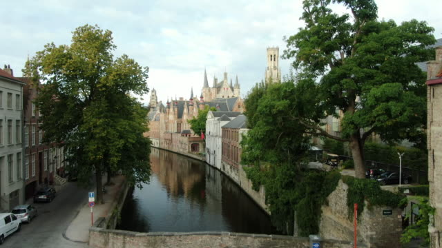 bruges canals aerial view - bruges video stock e b–roll