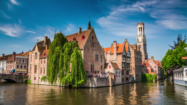bruges cityscape with belfry tower, belgium - bruges video stock e b–roll