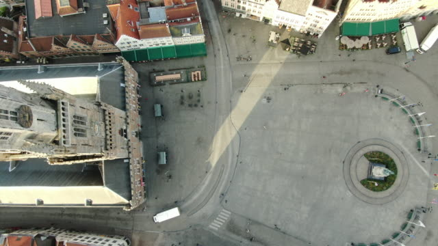 bruges square aerial view - bruges video stock e b–roll