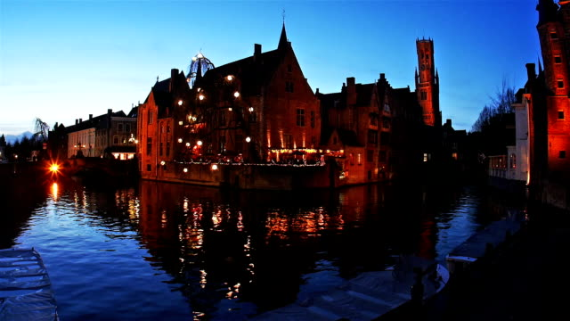 brugge, belgium : twilight view of historic medieval centre - bruges video stock e b–roll