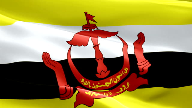 brunei darussalam flag motion loop video waving in wind. realistic bruneian flag background. brunei flag looping closeup 1080p full hd 1920x1080 footage. brunei asia country flags footage video for film,news - kiss filmów i materiałów b-roll