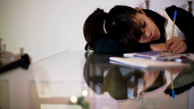 Brunette businesswoman exhausted of work video