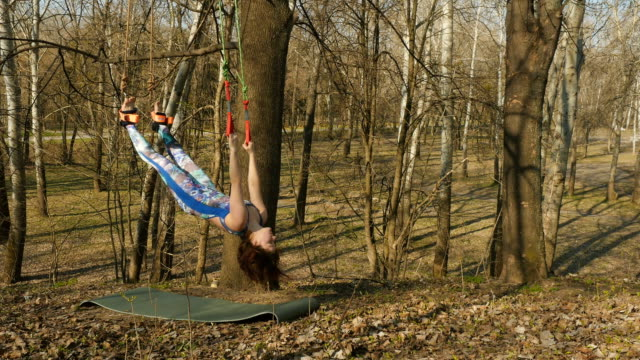 Brunette hangs on ropes during the exercises of aerogravity Young woman practicing aerogravity in the park. The woman makes physical exercises on the ropes on tree. Flexible female hanging on the ropes and stretching her body and muscles. She's moving slowly and accuracy. arthropod stock videos & royalty-free footage