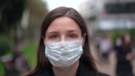 istock brunette in a protective medical mask 1209933595