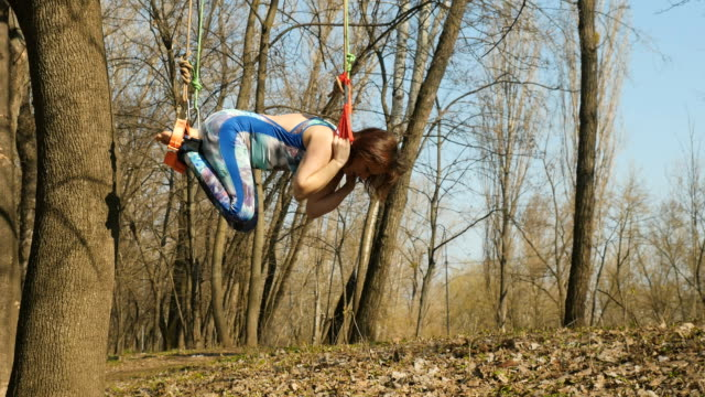 Brunette makes an exercises from aerogravity on tree in forest Young woman practicing aerogravity in the park. The woman makes physical exercises on the ropes on tree. Flexible female hanging on the ropes and stretching her body and muscles. She's moving slowly and accuracy. arthropod stock videos & royalty-free footage