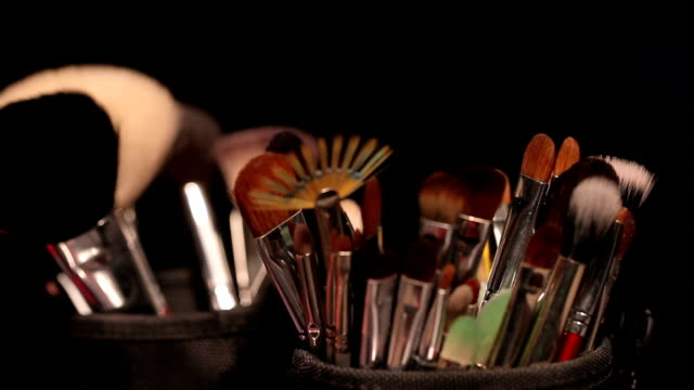 Brush set for make-up on table video