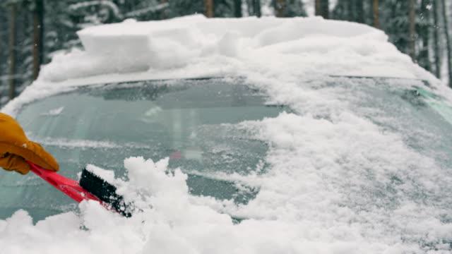 Brush windscreen in winter season