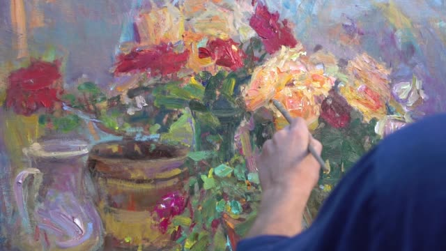 Brushstrokes. Oil painting. Slow motion