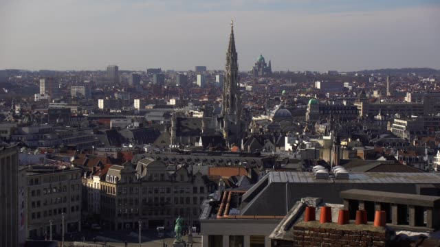 brussels skyline - church architecture stock videos & royalty-free footage