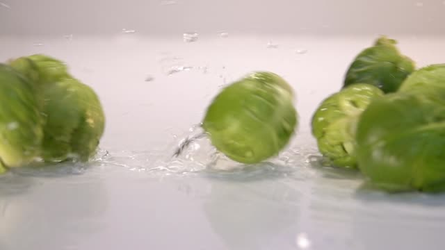 Brussels sprouts falling in water on white table in white background. Slow Motion 240 fps - vídeo