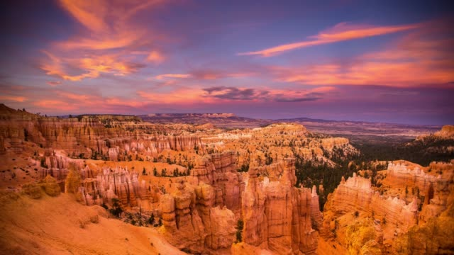 Bryce Canyon National Park at Sunset - Time Lapse Sunlight disappears from the steep canyons of Bryce Canyon National Park on a colorful evening. national landmark stock videos & royalty-free footage