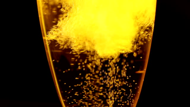 Bubbles inside a glass of champagne video