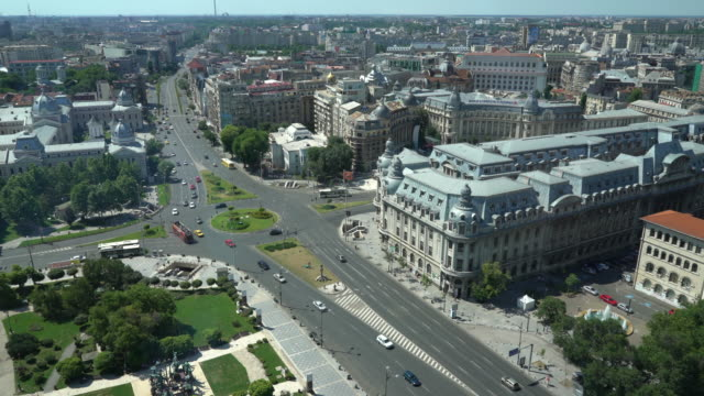 Bucharest from above, , two clips video