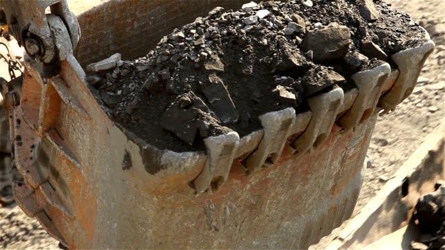 Bucket of industrial excavator close-up video