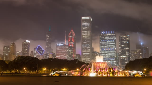 Buckingham Fountain and Chicago Skyline at Night Timelapse