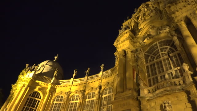 budapest agriculture museum at night - barocco video stock e b–roll