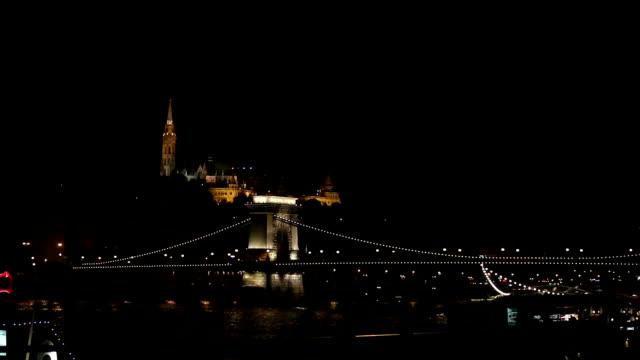 Budapest chain bridge by night video