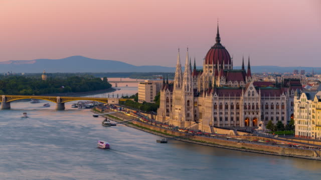 Budapest city skyline with Hungarian Parliament and Chain Bridge at Danube River, Day to night timelapse, Budapest, Hungary