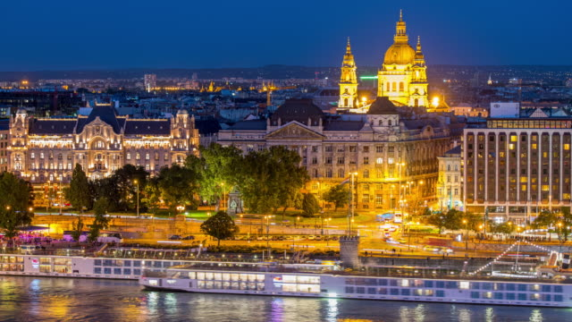 Budapest city skyline with St. Stephen's Basilica and Chain Bridge at Danube River, Day to night time lapse, Budapest, Hungary Budapest city skyline with St. Stephen's Basilica and Chain Bridge at Danube River, Day to night time lapse, Budapest, Hungary hungary stock videos & royalty-free footage