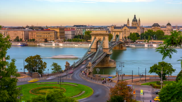 Budapest city skyline with St. Stephen's Basilica and Chain Bridge at Danube River, Day to night time lapse, Budapest, Hungary