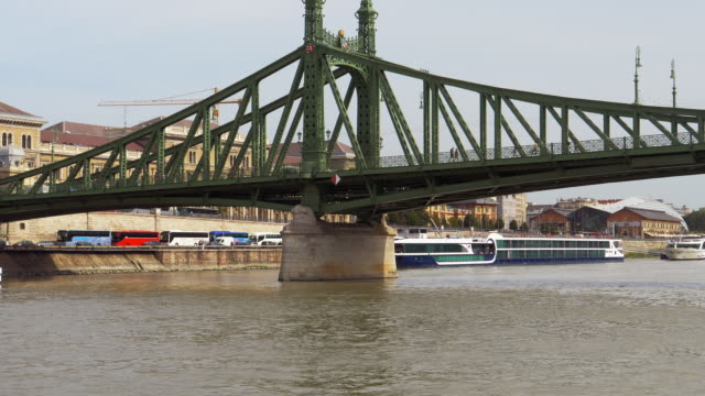 Budapest Liberty Bridge Viewed From Tourboat video