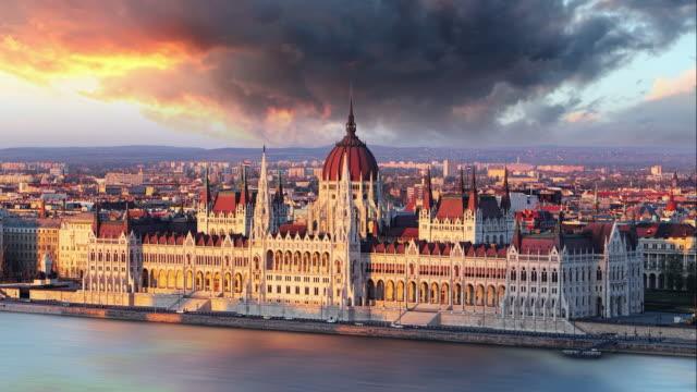Budapest parliament at dramatic sunrise  Time lapse video