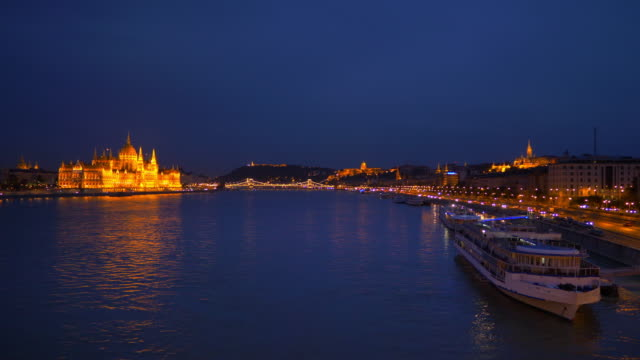 Budapest Skyline From The North At Night video