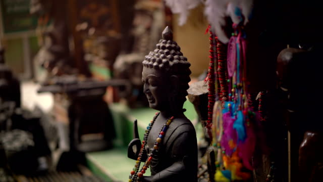 Buddha Statue Displayed For Sale at Thamel Street, Nepal 4K