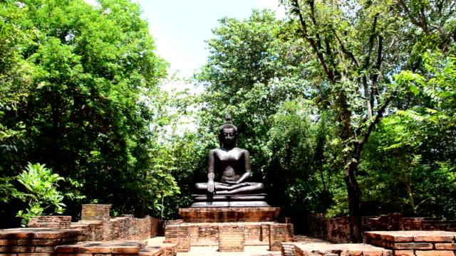 Buddha statue. Buddha Sukhothai Period, Sukhothai the first capital city of Thailand (Siam). sukhothai stock videos & royalty-free footage