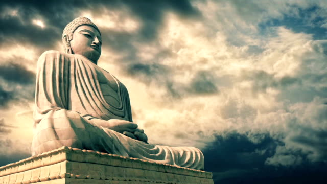 Buddha Statue With Epic Sky Timelapse video