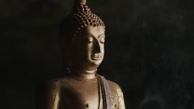 Buddha Statue With Smoke video