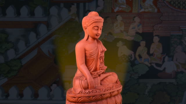 Buddha Wooden Buddha built in Rangoon, Burma painting art product stock videos & royalty-free footage