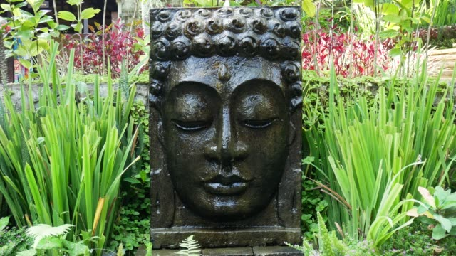 Buddha with falling water in the tropical garden in Ubud, Bali. Buddha with falling water in the tropical garden in Ubud, Bali, Indonesia. 4K buddha stock videos & royalty-free footage