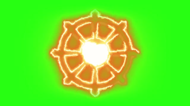 Buddhism Symbol Burning in Flames in Green Screen Background Animated Buddhism symbol burning in flames in green screen. philosophy stock videos & royalty-free footage